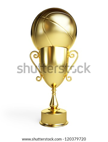 gold basketball ball cup on a white background
