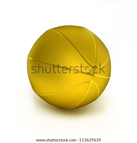 Gold basketball object on the white background