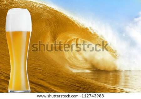 Gold beer glass over a big beer wave.