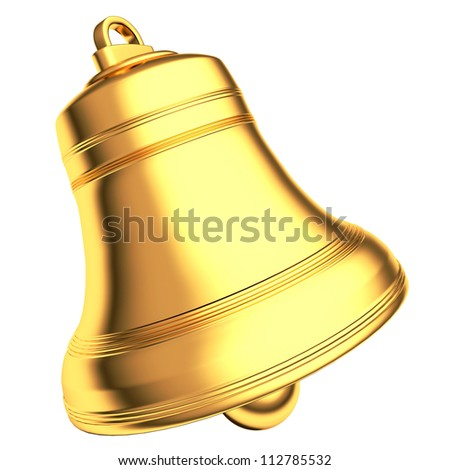 Gold bell isolated on white background