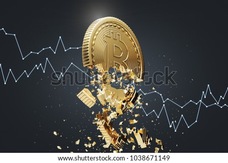 Gold bitcoin falling apart. A graph is crashing it. Concept of a cryptocurrency market crisis. A black background. A side view. 3d rendering mock up