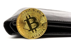 Gold bitcoin with  black wallet on white background. Business, money, cryptocurrency concept.