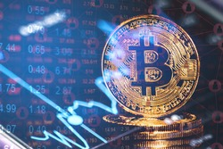 Gold bitcoin with stock graph for background, Gold Bitcoin Cryptocurrency Coins. Stock Market Concept, digital money and stock business.