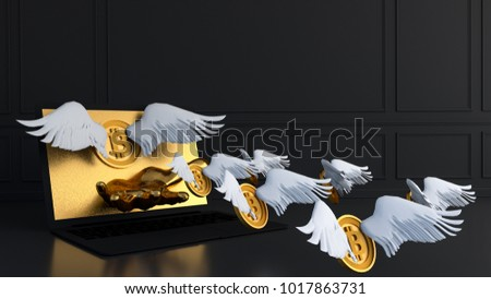 gold bitcoin with wing and labtop.Financial growth concept.3d rendering  illustration.