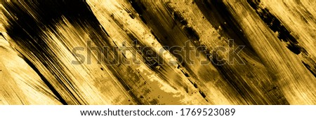 Gold Black Abstract Art. Hand Made Cinnamon Oil On Canvas. Gold Black Liquid Acrylic Art. Gold Black Oil Painting. Hand Painted Spots. Cocoa Dirty Modern Artwork.