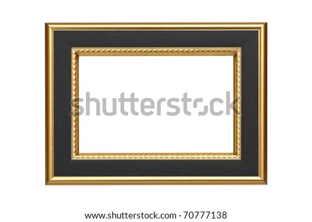 Gold-black frame isolated on white background