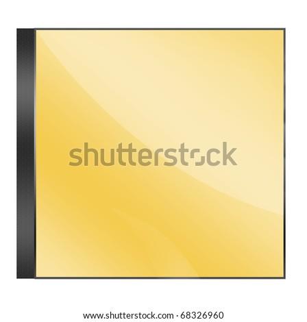 Gold blank cd case on white