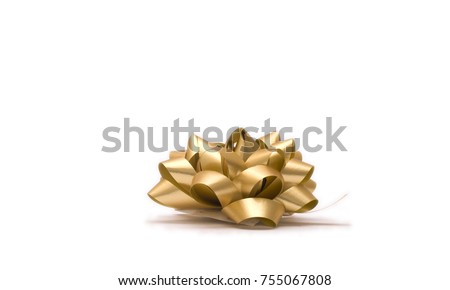 Gold bow: Christmas presents special Christmas wrappings (from the side) #755067808