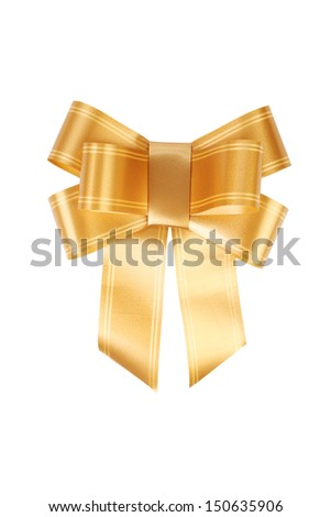 Gold bow isolated on white clipping path included