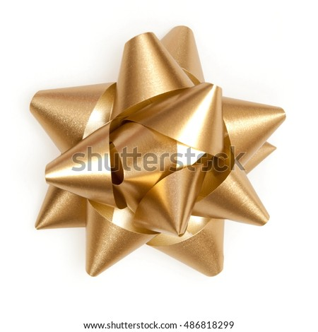 Shutterstock Gold bow sparkling holiday gift on a white background