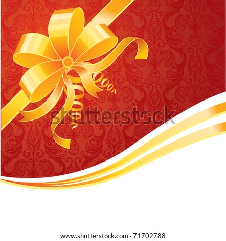 Gold bow, vector - stock photo