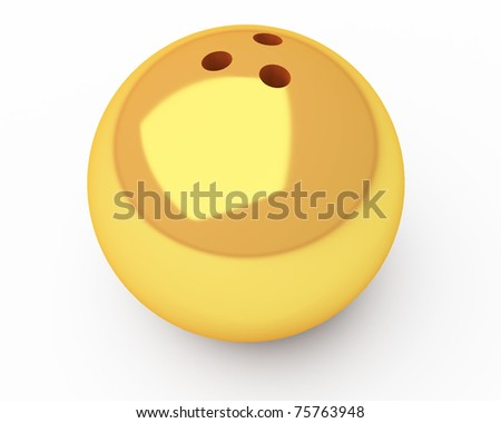 gold bowling ball with slight shadow isolated over white