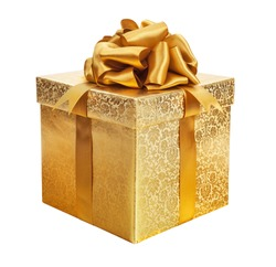 gold box with a gift for Christmas.
