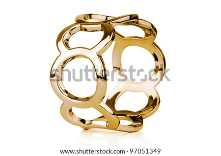 Gold bracelet isolated on white a background.