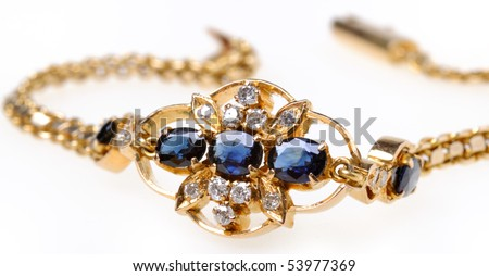 Gold bracelet with sapphires and diamonds