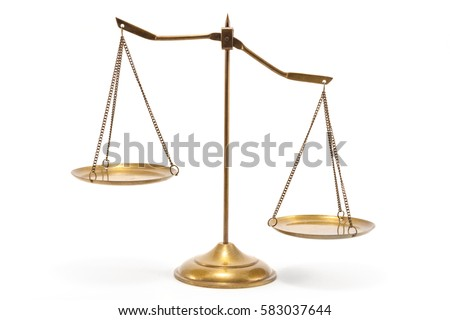 Gold brass balance scale isolated on white background