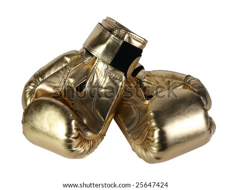 gold, bronze boxing-gloves on a white background, (See more boxing-gloves in my portfolio)