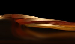 Gold (bronze) paper wave on black. Soft focus Abstract backgound.