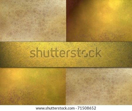 gold, brown, and beige background design layout, with soft grunge texture, golden lighting, ribbon stripe, and copy space