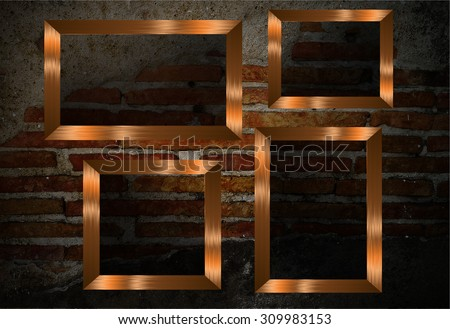 gold brown frame on the Old grunge brick wall. text box. art