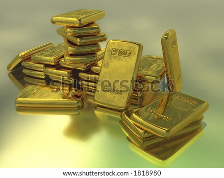 Gold bullion against a metallic backdrop - stock photo