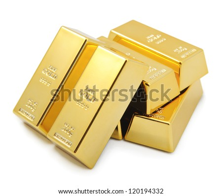 Gold bullion bars stacked on top of each other.