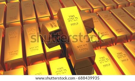 Gold bullion gold bars treasury wealth Ingot luxury finance goods trading,stacked gold bars.