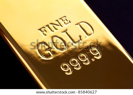 Gold bullion or ingot - stock photo
