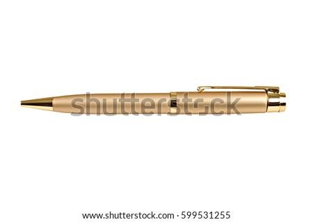Gold business pen isolated on white background