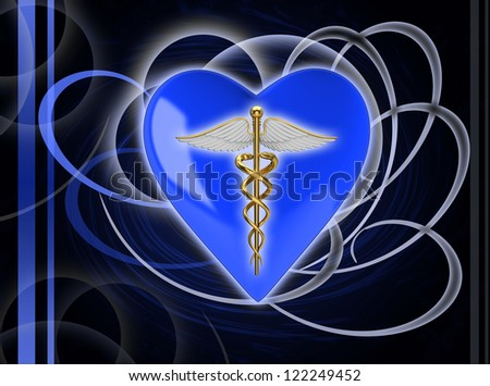 Gold caduceus medical symbol