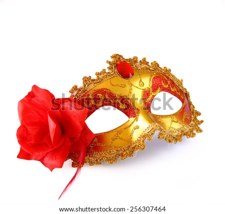gold carnival mask with red flower isolated on white