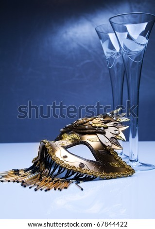 gold carnival venetian mask