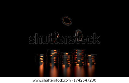 Gold casino chips on a dark background. A stack of casino chips. Casino background. 3d rendering.