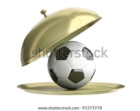 Gold catering tray with a soccer ball. 3D render - stock photo