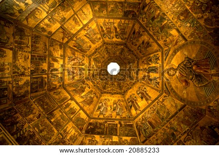 Gold ceiling of the Baptistry of the Duomo, central cathedral of Florence, Italy.