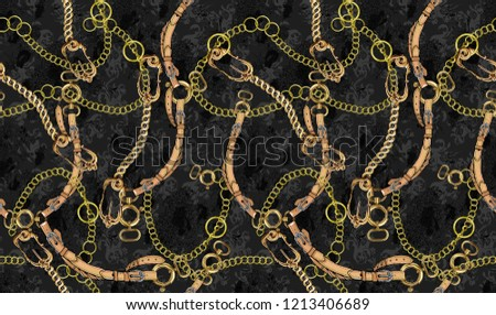 gold chain and belt themed, black, seamless background pattern.