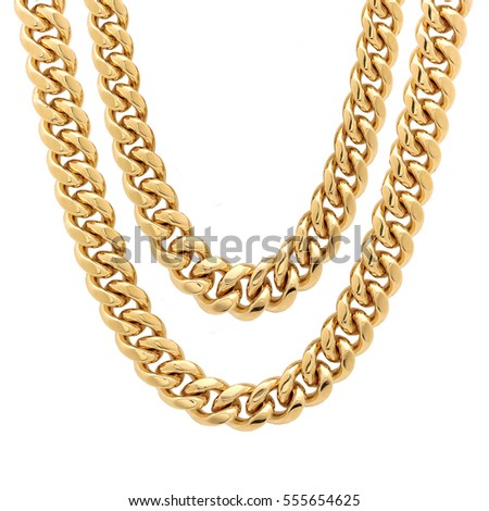 Gold Chain Isolated on White Background. Golden Jewelry