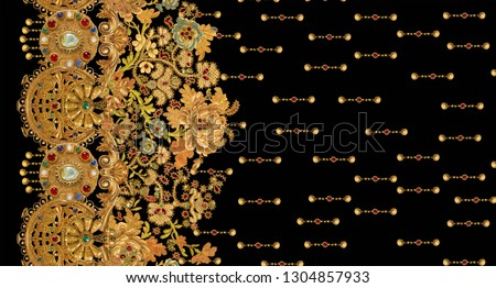 gold chain metal texture  baroque elegance pattern