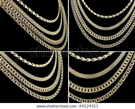 gold chain necklaces over black background, set of four shots