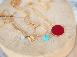 gold chain necklaces with turquoise stones - red stone - gold shell necklace - greek jewelry