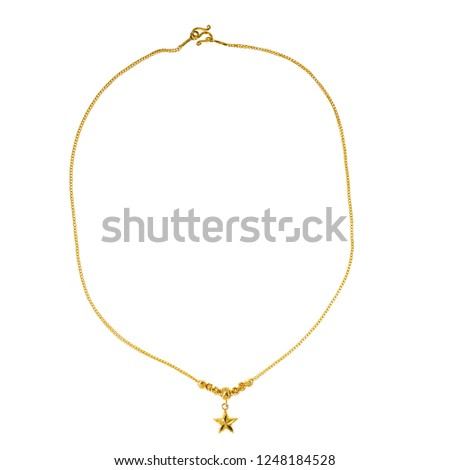 Gold chain star isolated on white background #1248184528