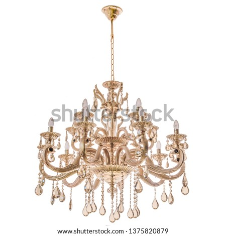 Gold chandelier on a white background