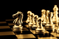 Gold Chess. Elite Business Team Leader golden color feeling luxury rich gorgeous image.