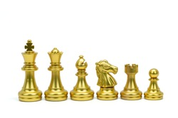 Gold chess piece stand in a row isolated on white background (king, queen, bishop, knight, rook, pawn). Clipping path