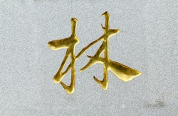 gold  chineese character, text, gold character in stone, lim