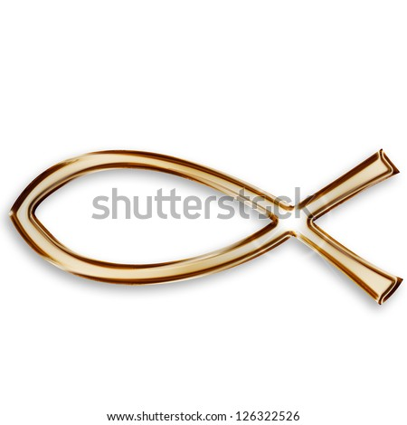 gold christian fish icon on white background