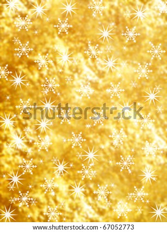 Gold Christmas background. Snowflakes and stars on golden blurred background. Useful for  Christmas and new year backgrounds.