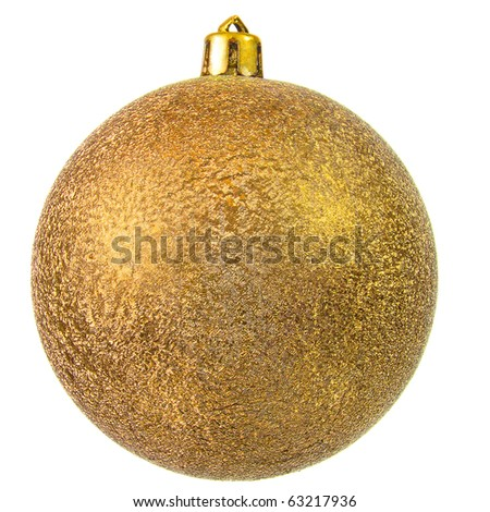 Gold christmas ball (christmas ornament). Isolated over white.