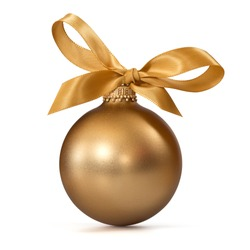 gold Christmas ball with ribbon