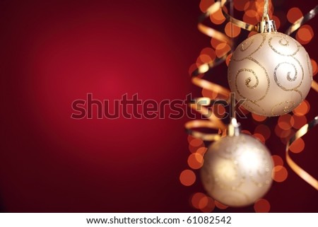 Gold christmas balls decoration.